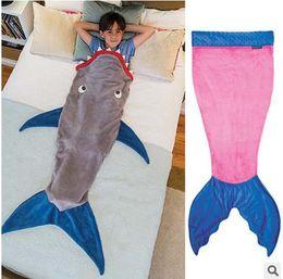Wholesale Mermaid Tail Sleepsack T Shark Blanket Animal Sleeping Bag Pajamas Overalls Kids Sleeping Robe Children Quilt