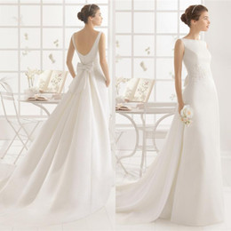 Wholesale 2016 new Simple bateau fairy weddings dresses with pockets Bow Over Skirts country wedding dress detachable skirt bride gowns QW817