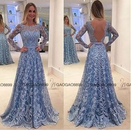 Wholesale 2016 Céu azul do laço Dubai Árabe luva longa Prom costume fazer Backless ilusão de comprimento total ocasião barato vestido de noite
