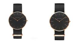 Reloj de lujo reloj clásico negro para los hombres Reloj de pulsera de cuarzo militar de la correa de nylon de las mujeres
