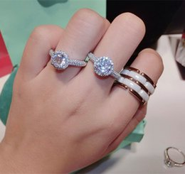 100925 sterling silver korean fashion wedding rings one carat large diamond rings for party 2016 free shipping - Large Wedding Rings