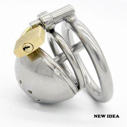 Última acero inoxidable del diseño masculino más corta Boundage castidad jaula uretral Tubo Gimp GAY BDSM Juguete del sexo adulto de los productos
