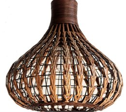 Rattan Ceiling Light: Southeast Asia Rattan garlic Dining Room Ceiling Pendant Lights Handmade  Study Room Restaurant Parlor onion Pendant Chandelier Fixtures,Lighting