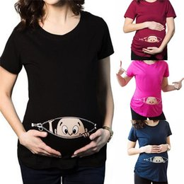 Wholesale New Arrivals Pregnant T shirt Maternity Supplies Shirt O Neck Summer Cotton Printing Patterns Casual KD3