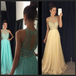 Wholesale Beautiful Aqua Prom Dresses Sheer O Neckline Beaded Sequins Chiffon Long Party Prom Gowns