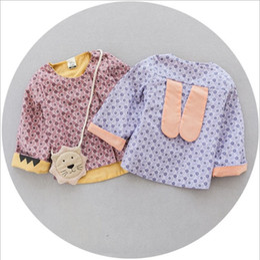 Wholesale Toddler Girls Outwear Kids Clothing Autum Cute Rabbit Ear Coat Korean Fashion Print Floral Coat ER