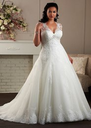 Free Plus Size Beaded Lace Cap Sleeve Wedding Dress White Ivory A Line Organza Bridal Gown Custom With
