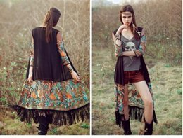 Wholesale retail national wind jacket embroidered fringed chiffon cardigan