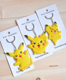 Wholesale Cartoon Pikachu Keyring Keychain Pocket Monster Keychain Double Side Silicone Doll Key Chain Collection Key ring