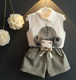 Wholesale 2016 New Summer Kids Girl Clothing Fashion Chiffon Sleeveless Tops Short Pants Sets Children Korean Cartoon Clothes Outfits A1136A