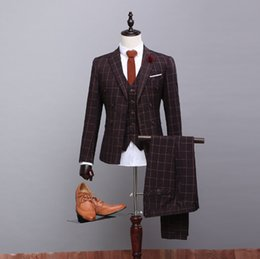 Discount Check Brown Suits Men | 2017 Check Brown Suits Men on ...