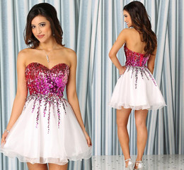 Wholesale Dresses Homecoming Custom Made Short Mini Prom Dresses with Dazzling Purple Sequins and Beading Corset Back Cheap Cocktail Party Dress