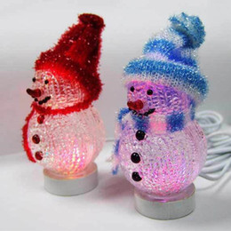 Colorful Christmas Snowman Led Party Home Deco Light Lamp Christmas Gifts Snowman Flashing Snow Man Usb Recharge Za1320