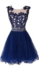Wholesale Short Navy Blue Homecoming Dresses Lace Appliques Sheer Sleeveless Rhinestones Belt Tulle Teenage Dress For Prom Party vestidos coctel