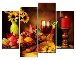 4 Piece Wall Art Painting Fruit And Red Wine Beside Candlestick Pictures Prints On Canvas Picture For Home Decor Decoration Gift