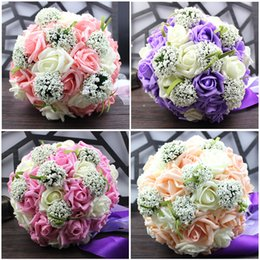 Wholesale In Stock Cheap Wedding Accessories Bridal Bouquet Pink Red Purple Artificial Wedding Flowers Buque De Noiva For bridesmaid
