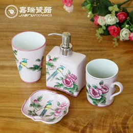 4pcs Bathroom Set Hand Made Ceramic Sanitary Ware Home Decor Supplies Bathroom Accessories