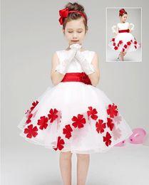 Pretty Baby enfants 3D rose fleur robe filles sans manches sequin robe été princesse robe bow chiffon floral robe avec ceinture