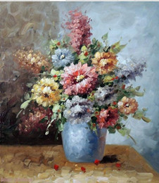 Wholesale Flower Blue Vase Pink Yellow White Rose Stock Daisy Pure Handicrafts floral Art oil painting On Canvas in custom sizes