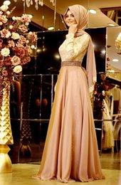 Wholesale 2016 New Style A Line Long Formal Muslim Evening Dress Hijab Islamic Dubai Abaya Kaftan Beading Bow Long Evening Gown Prom Dresses