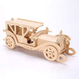 3d wooden puzzle jigsaw bulldozer antique car model toy diy kit for children and adults