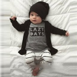 Wholesale 2016 INS explosion models Baby LAZY letters printed long sleeved T shirt stripe pants two piece suit white and gray baby clothes suit