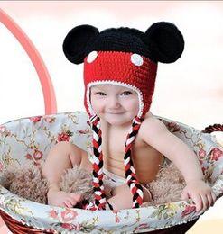 Wholesale Mickey hats Cute Baby cartoon Costume Handmade Crochet Knitted Hat Animal Mouse Head Beanie Cap AA