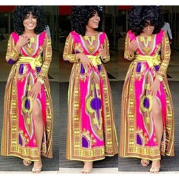 Wholesale New african fashion design skirt designs women traditional print Dashiki clothing National characteristics long sleeve dresses