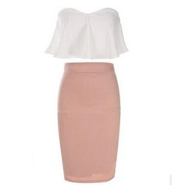 White Pencil Skirt Set Online | White Crop Top Pencil Skirt Set ...
