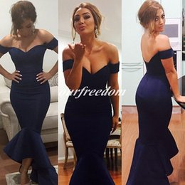Wholesale Cheap New Fashion Mermaid Long Evening Dresses Off The Shoulder Court Train Formal Prom Occasion Dresses Party Cocktail Dresses Custom