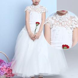 Parte de las niñas del desfile de vestidos de princesa Jewel Crystal rebordear Coral Blanco niños muchachas de flor vestido de cumpleaños para la primavera verano