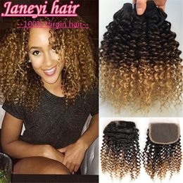 Discount ombre weaves closure 7A Brazilian Ombre Curly Wave Human Hair 3Bundles With Lace Frontal Closure Deep Curly Ombre Hair Extensions Weave With Wiss Lace Closure