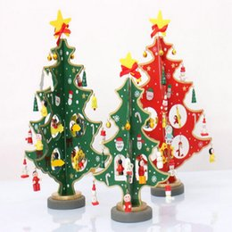 wholesale cheap christmas decoration wooden christmas tree diy handmade christmas scene window ornaments - Wholesale Christmas Decorations