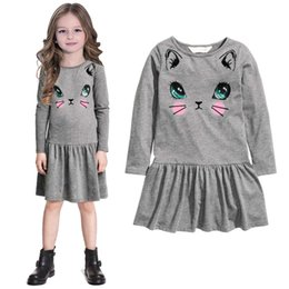 Wholesale Hot dress cute kids clothing kids clothes girls dresses Lovely kitten printing children s skirt Princess girls long sleeved dress