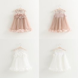 Wholesale Girls Princess Dress for Kids Clothes Summer Flowers Lace Tutu Dress Korean Fashion Sleeveless Cotton Girls Party Dress