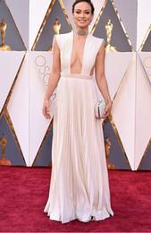 Wholesale 2016 V neck Evening Dresses Oscar Olivia Wilde in Valentino Pleats Sexy Chiffon Floor length Prom Celebrity Dresses red carpet High Quality