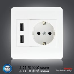 2100mAh Home Wall Charger Adapter EU Plug Socket Power Outlet Panel Dual USB Port YB114-SZ+ from dual power outlet adapter suppliers