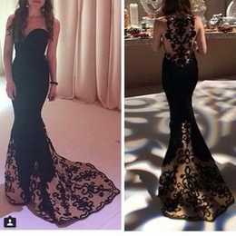 Wholesale Elegant Black Mermaid Evening Dresses Sweetheart Lace Embroidery Floor Length Prom Dresses Hot Sale Tarik Ediz Gowns