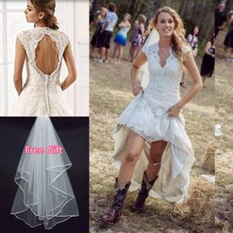 Wholesale 2016 Full Lace Rustic Country High Low Wedding Dresses with Hi Lo Skirt V Neck Capped Sleeves Plus Size Boho Chic Bridal Gowns