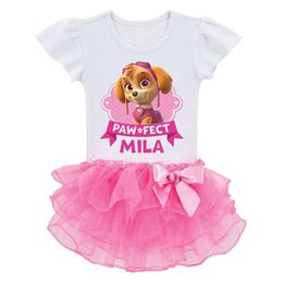 Wholesale 2016 New summer short sleeve Kids Cartoon dog Paw printed Patrol pattern tutu girls dress