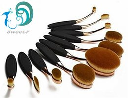 Wholesale 10 Pieces Gold plated Oval Makeup Brush Cosmetic Foundation Cream Powder Blush Makeup Tool with packaging