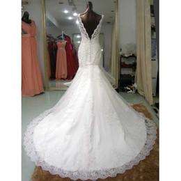 Wholesale Sleeveless Wedding Dress Luxury Lace Long A line Mermaid Bridal Gown Beach Wedding Cocktail Dresses Best Western Open Back Vestidos De