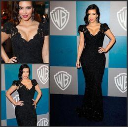 Wholesale 2017 high quality black Kim Kardashian Awards Cap Sleeves V Neck Lace Mermaid Celebrity evening prom Dresses