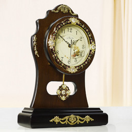 q 16 inches table clocks solid wood creative real wood furnishing articles table clock large mute electronic clock home decor - Home Decor Articles