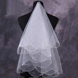 online shopping Only Cheap Bridal Veils Handmade Pearls M Length White Ivory Short Tulle Wedding Veil Bridal Accessories In Stock