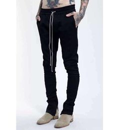 Wholesale korean hiphop fashion pants with zippers bigbang M XL black flared pants men urban clothing HBA YEEZUS boost fear of god
