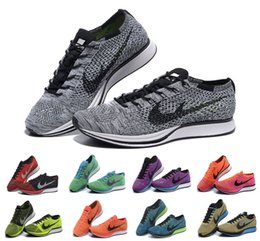 Discount Shoes Run Air Max Wholesale Women & Men Air Mesh Barefoot Fly Line Knit Racer Running Casual Shoes Max 90 Roshe Run Trainers Jogging Zapatos Size 36-45 Eur