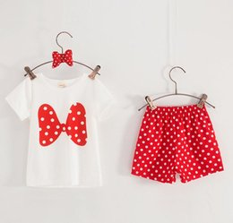 Wholesale 2016 summer outfits baby clothes retail Baby Girls Minnie Mouse Princess Birthday Party Outfit Girls Dresses Red Dot Kids Clothing