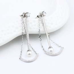 Wholesale 925 silver after hanging Pearl Earrings elegant and luxurious style of ancient Greek goddess classic earring for women