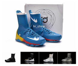 2016 New Kevin Durant KD 8 Elite Mens Basketball Shoes High Top KD8 Home White Black Gold Wolf Grey Training Sneakers Eur 40-46